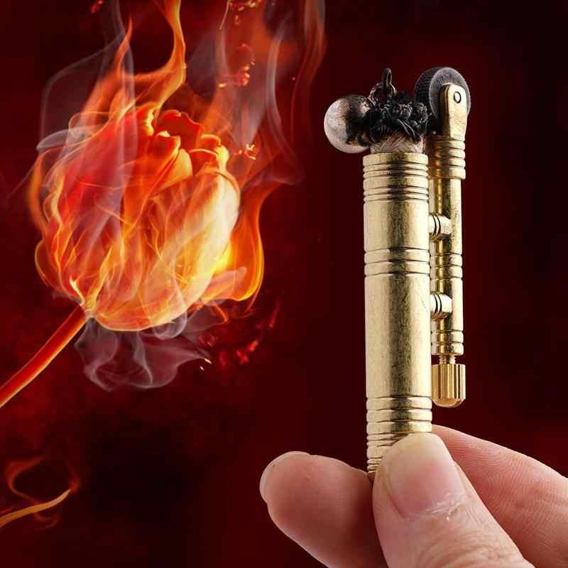 Металлическая винтажная бархатная зажигалка для кемпинга, ретро гремучая змея, винтажная бархатная веревка, Тренч, зажигалка, инструмент для выживания, источник огня