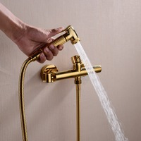 Gold Wall Mounted Handheld Bidet Spray Shattaf douche Kit Sprayer Jet + Hot&Cold Mixer Valve 02 014