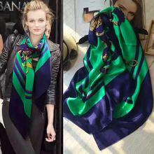 Модные роскошные площади Шарфы для женщин женские высокое качество Шелковый Шарф марка foulares Для женщин бандана Роскошные Вышивка Крестом Пакет