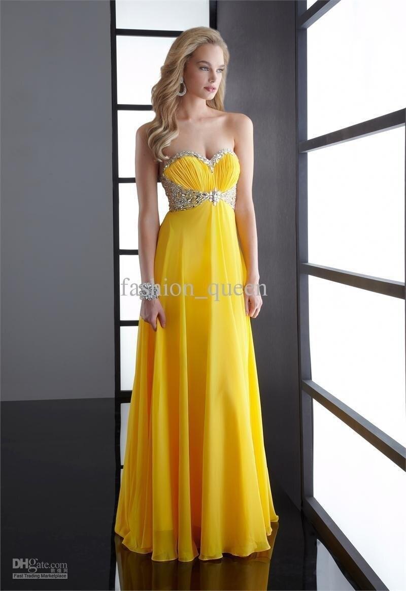 Livraison gratuite nouvelle Mode Chérie jaune En Mousseline de Soie Strass robe De Soirée longue robes de bal 2016