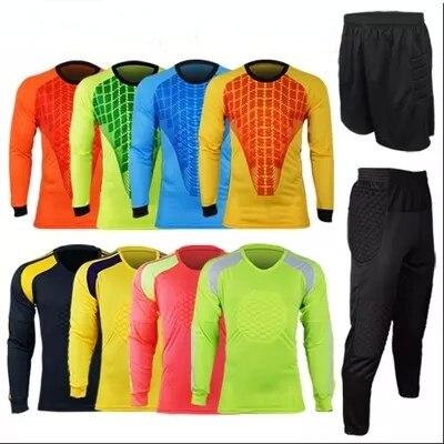 a8bae023b57 Professional Goalkeeper Jersey Uniform Set Football Doorkeeper Custom Long  Sleeve Soccer Goalie Jerseys Top Trousers Shirt Pants