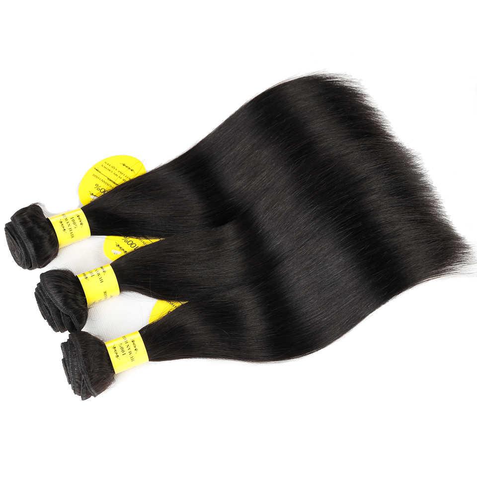 Царственный продукты человеческих волос Weave Связки с закрытием номера Реми утка 3/4 Связки Бразильский прямые волосы Связки с закрытием