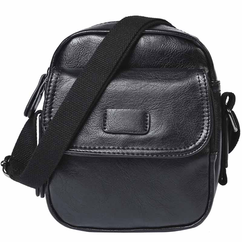 2019 New Men\'s PU Retro Shoulder Messenger Bag Men\'s Casual Multi-Function Small Square Bag Mobile Phone Change Storage Bag