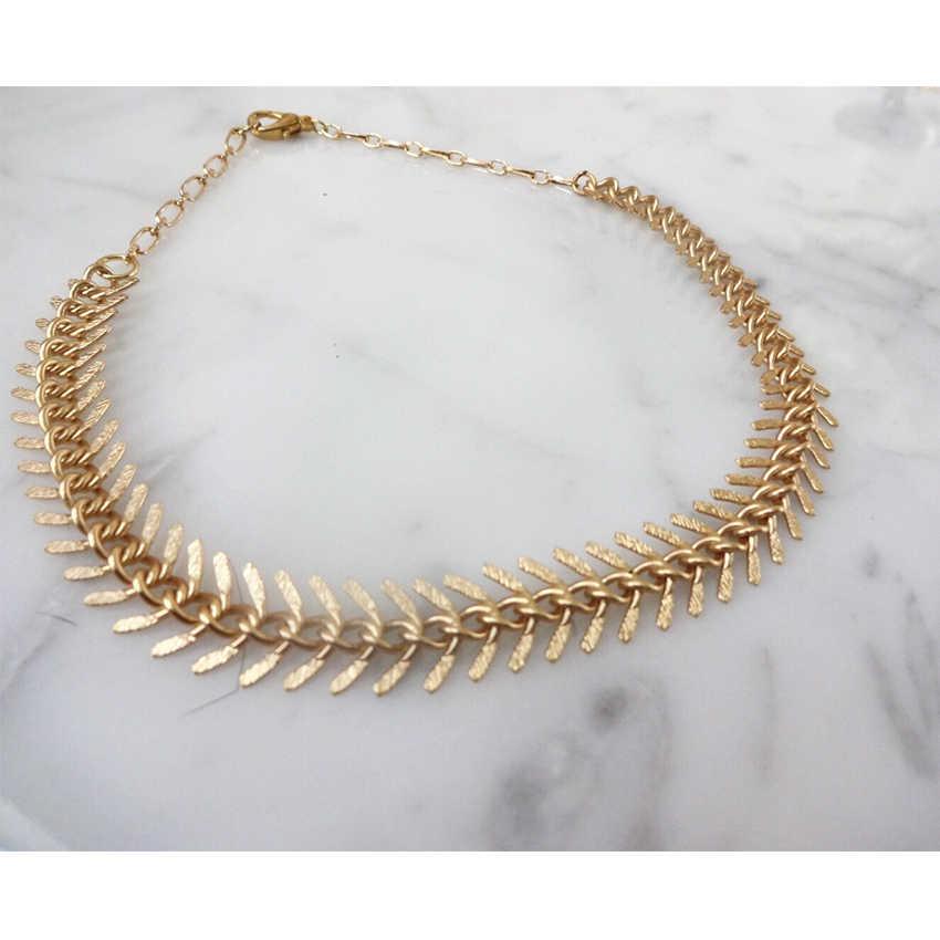 פשוט זהב כסף צבע שרשרת עלים קולר שרשרת לנשים אדרה Chocker שרשראות צווארון קולייר femme bijoux