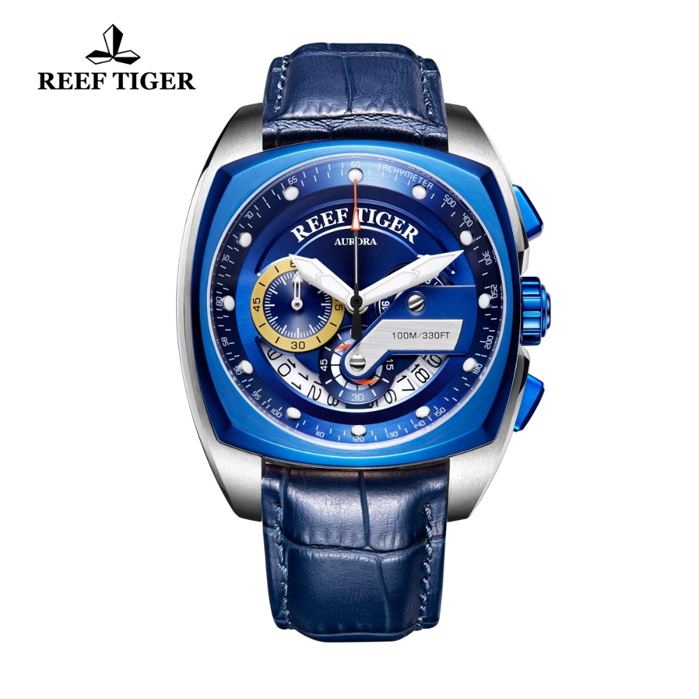 Reef Tiger/RT New Design Blue Sport Watches Waterproof Military Watches Leather Band Square Men Watch Relogio Masculino RGA3363 2018 reef tiger rt top brand sport watch for men luxury blue watches leather strap waterproof watch relogio masculino rga3363