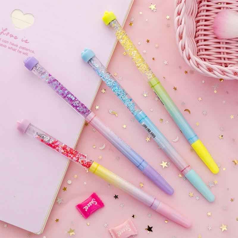 1 Pcs Quicksand Gel Pen Cute Stationery 0.38mm Novelty Kawaii Pen Student Black Writing Pens Gel Pens Kawaii School Supplies