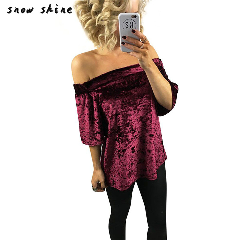 snowshine YLI Womens Velvet Off Shoulder Shirt Top Casual T-Shirt FREE SHIPPING