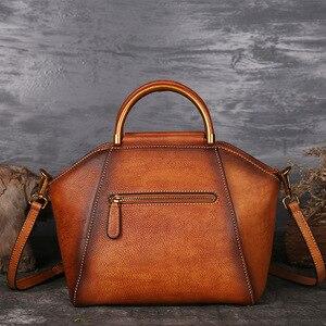 Image 2 - Luxury Women Genuine Leather Handbags Ladies Retro Elegant Shoulder Messenger Bag Cow Leather Handmade Womans Bags