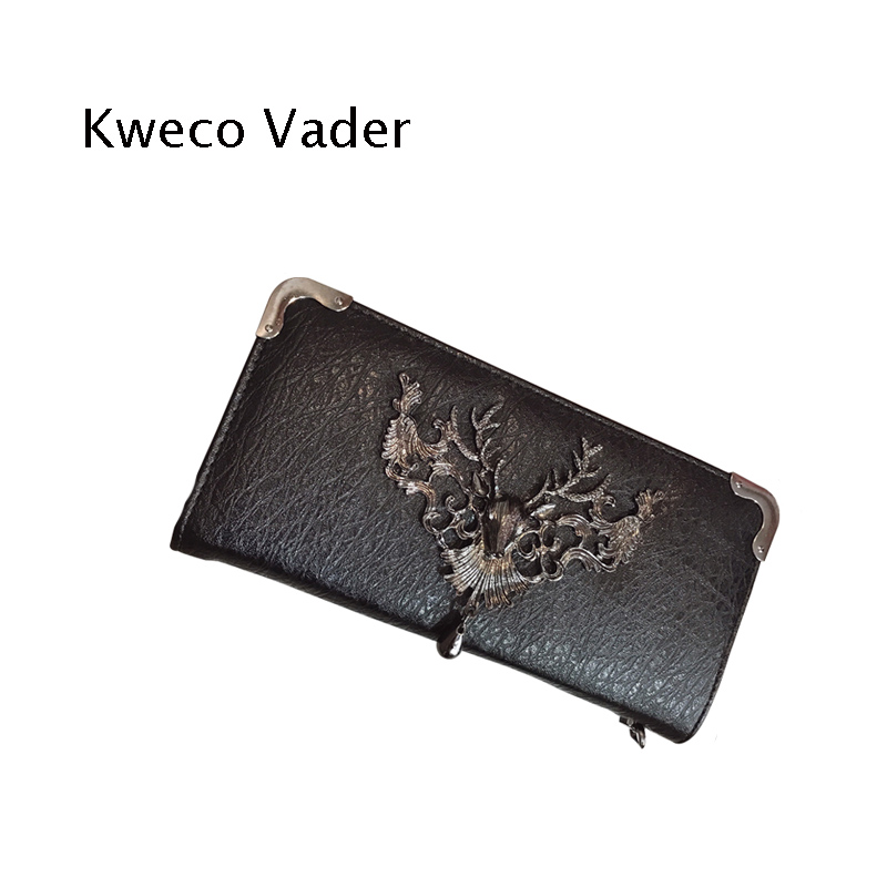 Kweco Vader Brand Women's Purses 2018 New Wallet Women Punk Purse Wallets Long Clutch Phone Bag Casual Handbags Carteras Mujer brand double zipper genuine leather men wallets with phone bag vintage long clutch male purses large capacity new men s wallets