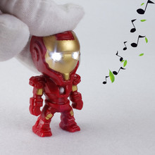 The Avengers Alliance LED Keychain Movie Anime Super Hero Iron Man LED Keychains Light & Sound Action Figures Pendant Gifts