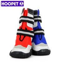 HOOPET Pet Moda Neve Quente Botas Impermeáveis PU Sapatos Macios inferior Meias Booties Cão Azul Vermelho duas Cores para Maior cães