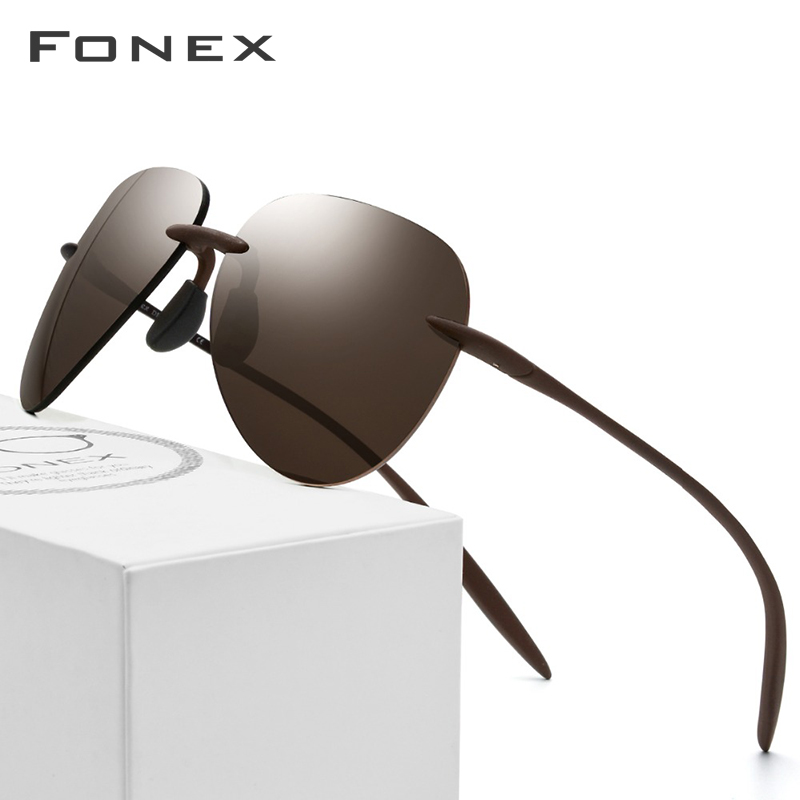 Ultem TR90 Rimless Polarized Sunglasses Men Ultralight 2018 New High Quality Sun Glasses For Women With Nylon Lens