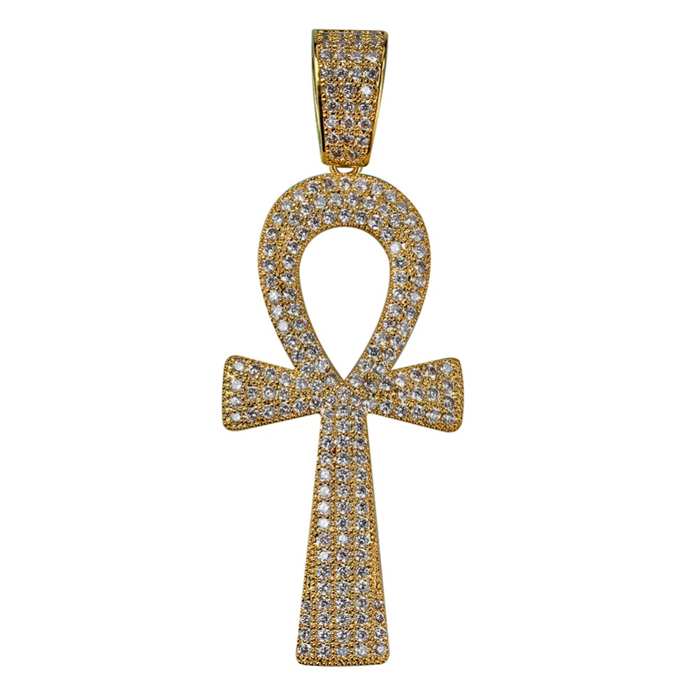 Gold-Tone Iced Out Hip Hop Bling Pyramid and Ankh Cross Pendant with Princess Cut Cubic Zirconia 16 Tennis Chain and 24 Rope Chain