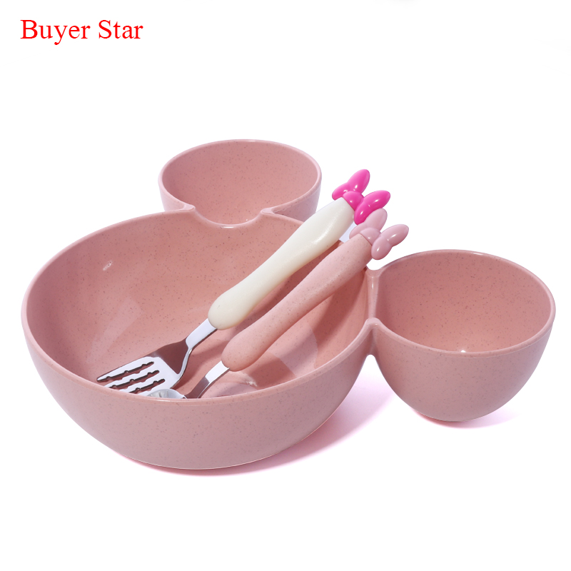 Wheat food material plastic mickey Head big bowl dish of fruits baby dishes cat spoon Fork lunch box