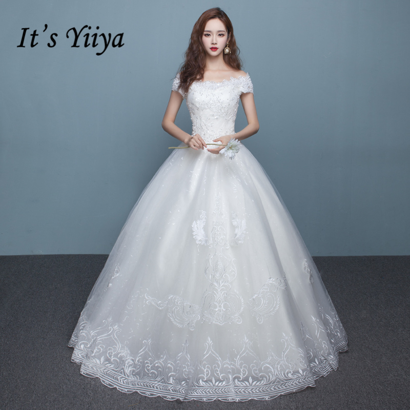 It's YiiYa Off White New Sleeveless Boat Neck Bride Gown Bling Sequined Plus Size Pregnant Maternity Quality Wedding Frocks D323