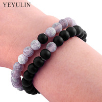 8mm Natural Black Lava Stone Beaded Bracelet Reiki Balance Prayer Beads Bangle Jewelry For Lover's Jewery 2pcs