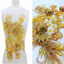 1 Piece Gold Lace Applique Sequins Rhinestones Bead Patches Accessory Sew Clothes Shoes Bags Decoration DIY Crafts