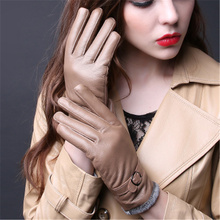 2018 Winter Hot New Genuine Leather Gloves Ladies Warm Thickened Sheepskin Driving 13 Color D-159-5