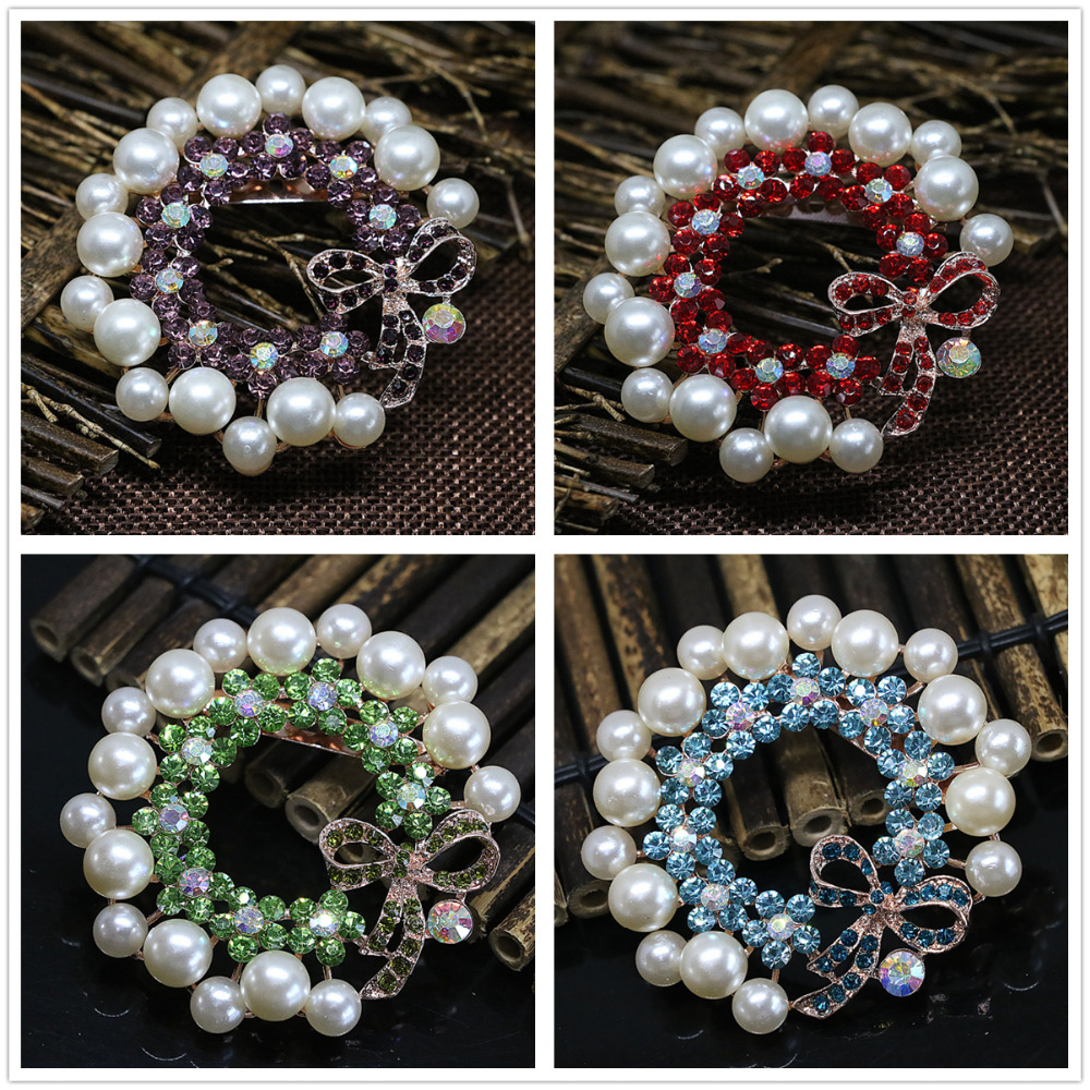 Delicate big round brooches 8 colors shell pearl charms crystal rose gold plated newly for women weddings jewelry pins B