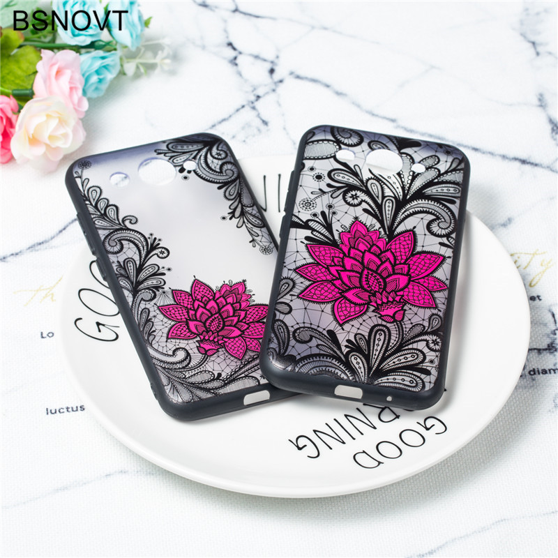 For Huawei Y3 2017 Case Lace Rose Flower Silicone Anti-knock Phone Cover Funda BSNOVT