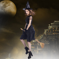 New Arrival Halloween Black Witch Costume Woman Clothing Movie Vampire Role Play Exotic Disfraces Hot Sale