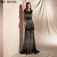 H & S Свадебные Черный торжественное платье длинные элегантные вечерние платья блёстки Роскошные для вечерние выпускного вечера халат De Soiree