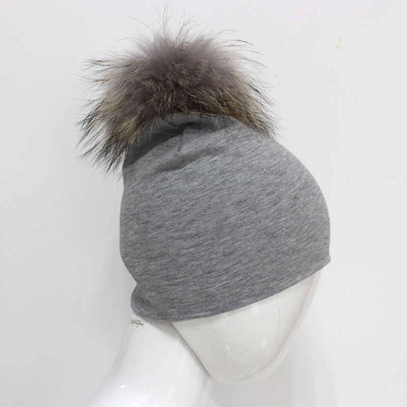493fe44de6d ... 6-24months Baby Cotton Beanies with Real Fur Pompom 5 Colors Slouchy  Kids Hat for ...