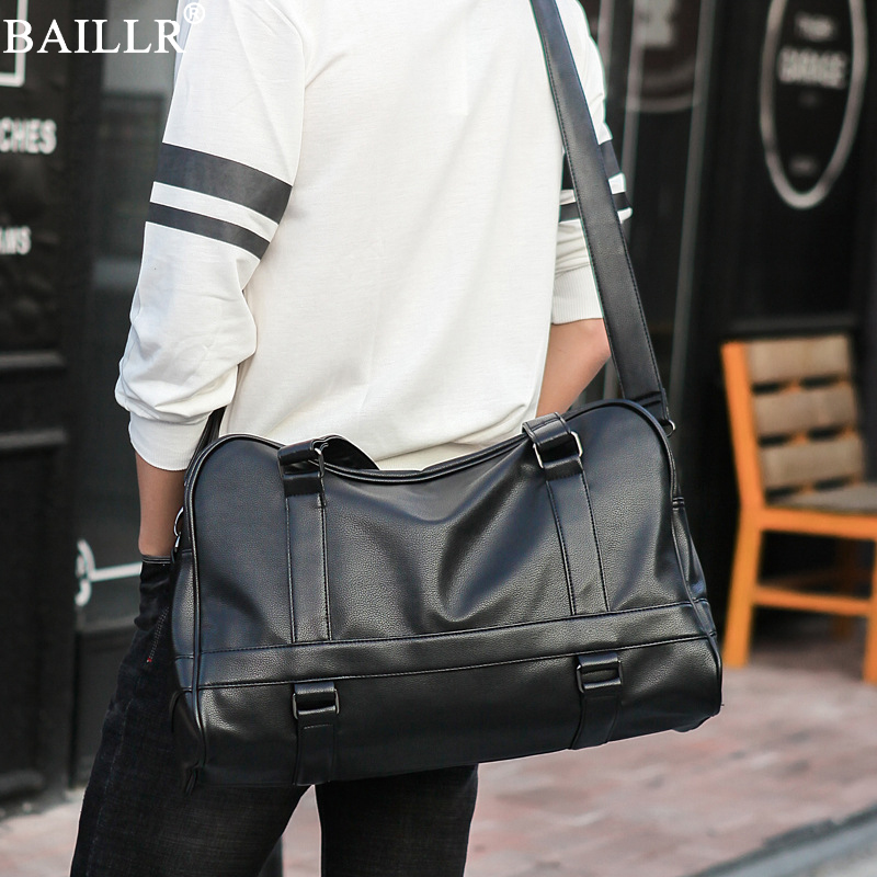 2018 New Trend Casual Men PU Leather Messenger Bag Large-Capacity Portable Shoulder Bags Men's Fashion Travel Bags Package Solid