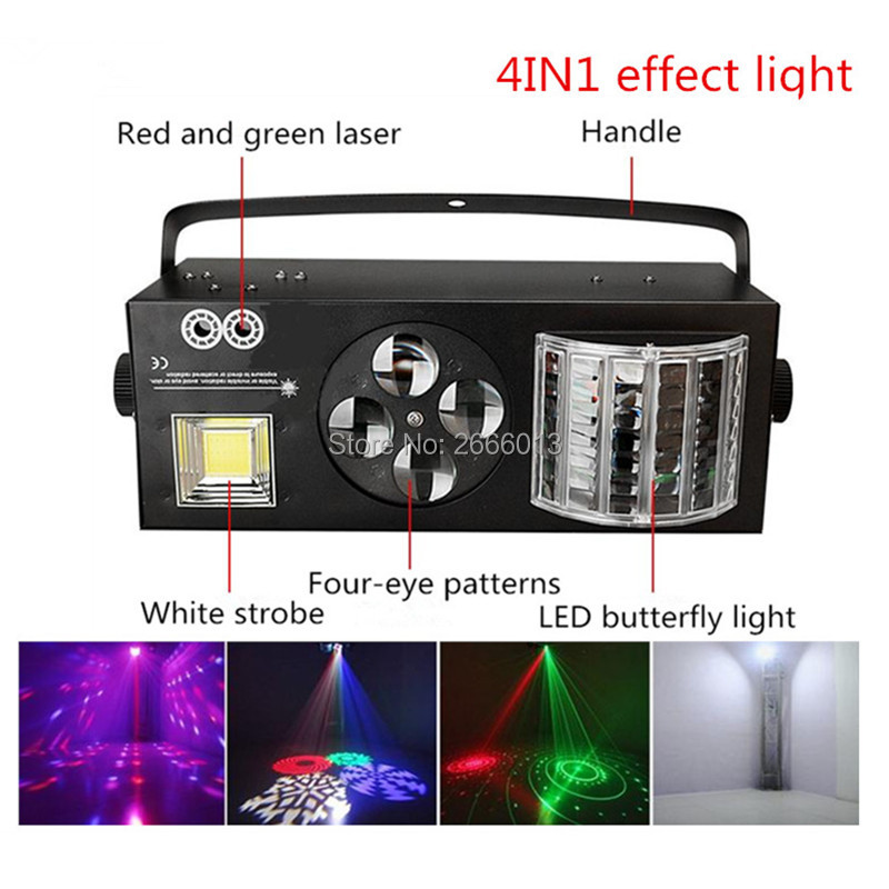 4IN1 LED Stage Effect Light ,Red And Green Color Laser LED Butterfly Lights 4 Eyes Patterns Gobo Light White Strobe Party Lamps sport car style 2 led white light flashlight keychain w sound effect red 4 x lr41