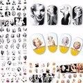 2017 nuevo 12 hojas belleza Marilyn Monroe Etiqueta de Transferencia de Agua Del Arte Del Clavo DIY Accesorios herramientas de la manicura de Uñas calcomanías A481-492