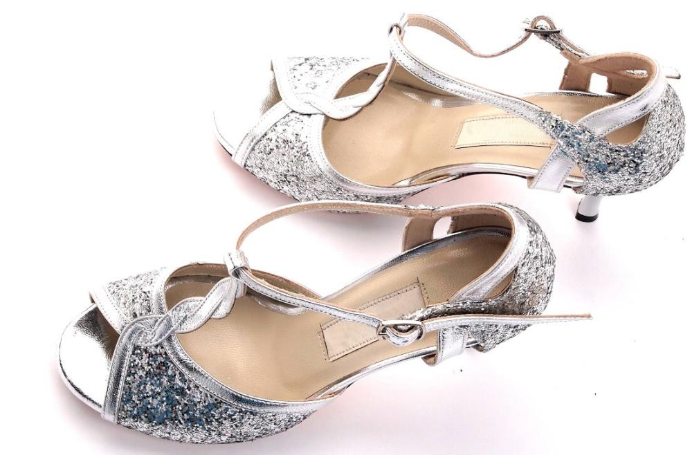 Nieuwe gratis verzending Zilveren Ballroom dansschoenen Salsa schoenen Latijnse hakken Suede Sole