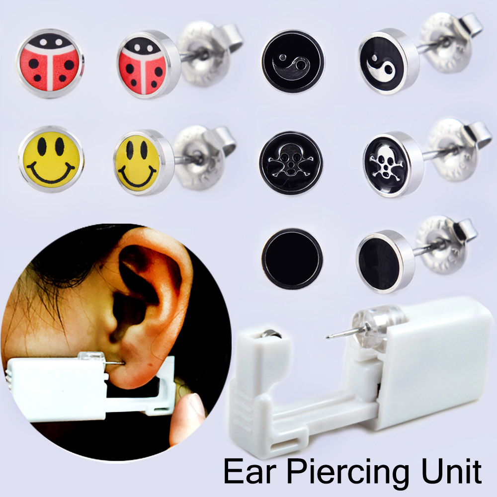 Showlove-1 Unit Disposable Sterile Ear Piercing Unit Cartilage Tragus Helix Piercing Gun Tool Less Pain Earring Body Jewelry