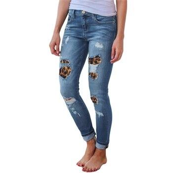High Waist Jeans for Women Fashion Slim Hole Leopard Patchwork Long Jeans Sexy Ripped Denim jeans pants push up jeans boyfriend 5