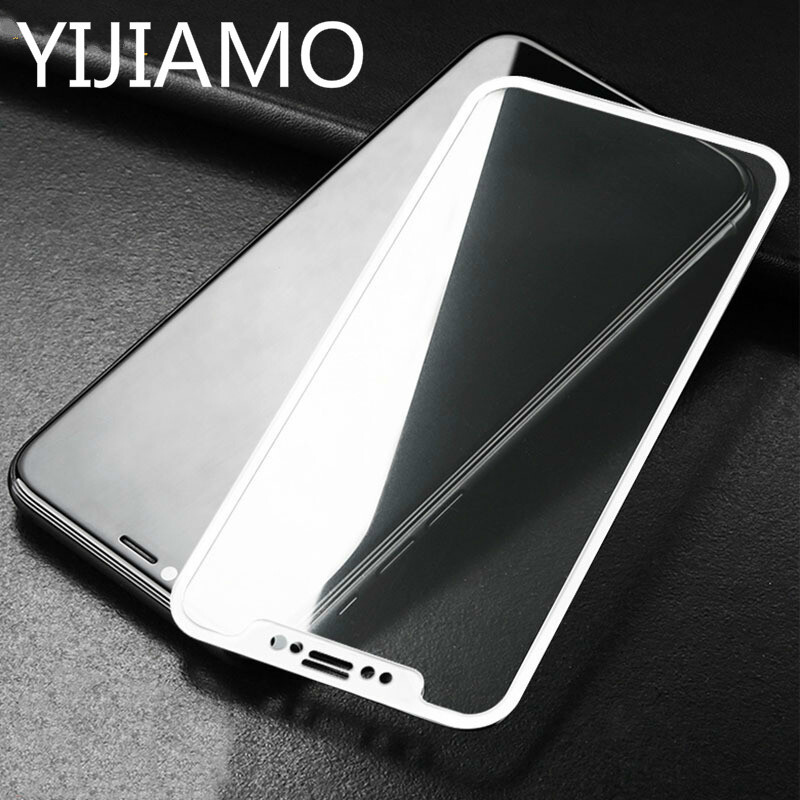 For iphone X Xs Xr xs max Tempered Glass Black white 3d Carbon Fiber Screen Protector Film For iphone 8 7 6 6s Plus Xs Max Glass image