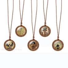 Egyptian Ankh Cross Necklace Vintage Art Wooden Pendant Glass Dome Jewelry Ancient Egypt Anubis Scarab Goddess Necklaces Gift