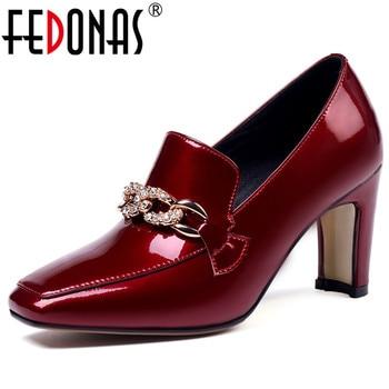 FEDONAS 2019 Spring Autumn New Fashion Elegant Sexy Square Toe High Heels Basic Women Pumps Patent Leather Female Shoes Woman