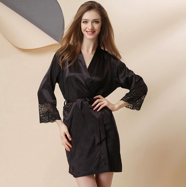 b59f0e3572 Silk Satin Kimono Robe Long Sleeve Bathrobe Fashion Night Robes Solid Bath  Robe Sexy Sleepwear Lace Dressing Gown For Women