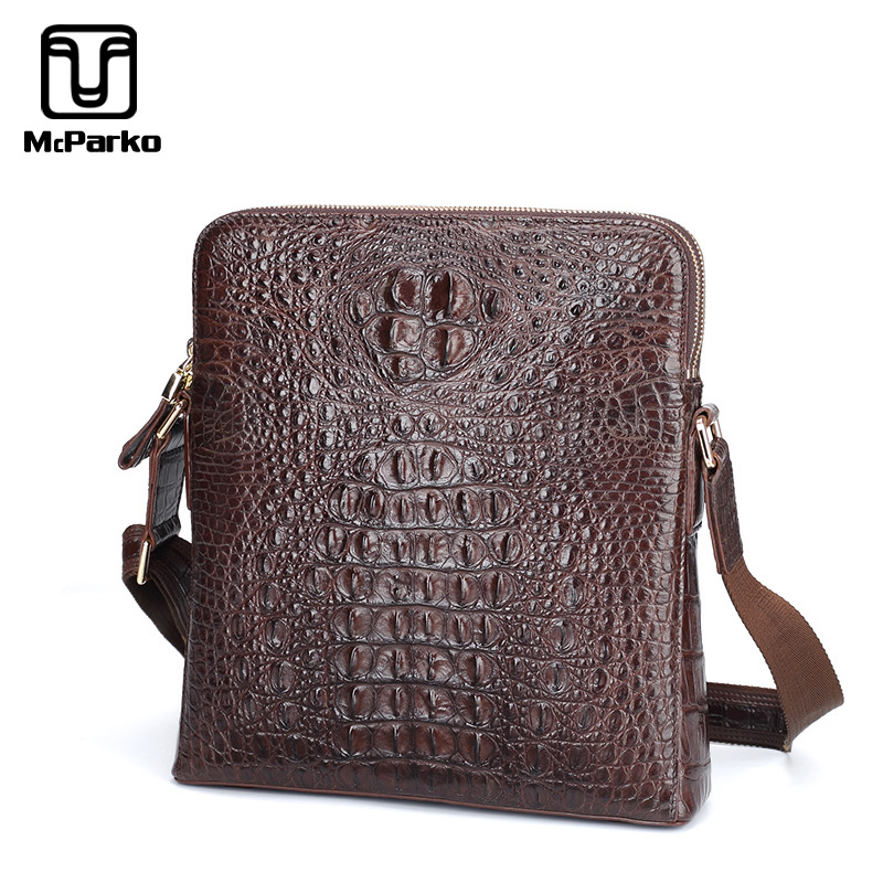 06bd9071159 McParko 2019 Mens Shoulder Bag Genuine Leather Crocodile Bag Men Fashion  Luxury Messenger Crossbody bag Brown Business Male Gift