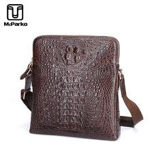 McParko 2019 Mens Shoulder Bag Genuine Leather Crocodile Bag Men Fashion Luxury Messenger Crossbody bag Brown Business Male Gift недорого