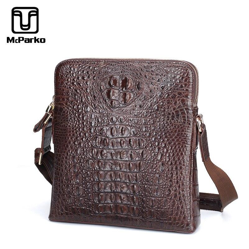 68c2da89d0d0 Mckarko 2019 мужская сумка на плечо пояса из натуральной кожи крокодил сумка  для мужчин модные роскошные Crossbody коричневый бизнес мужской подарок