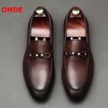 OMDE British Style Round Toe Soft Genuine Leather Men Loafers Slip On Casual Mens Shoes Luxury Brand Men's Driving Shoes цена в Москве и Питере