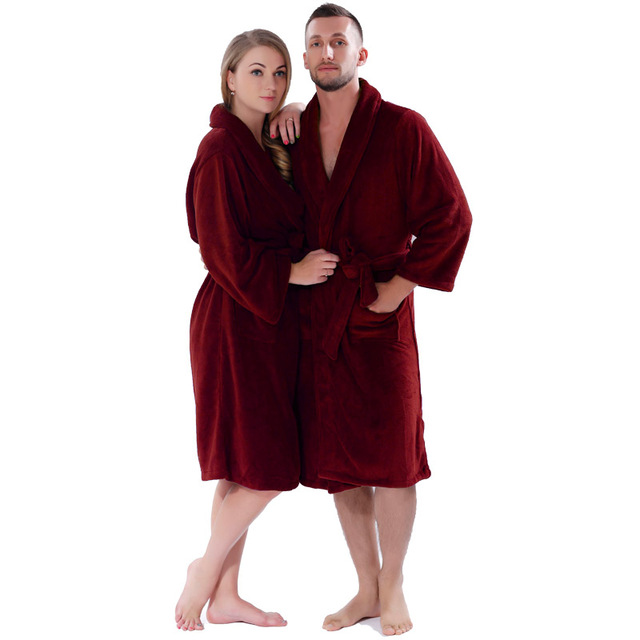 Lovers Winter Thickening Warm Bathrobe Plus Size Coral Fleece Solid ...