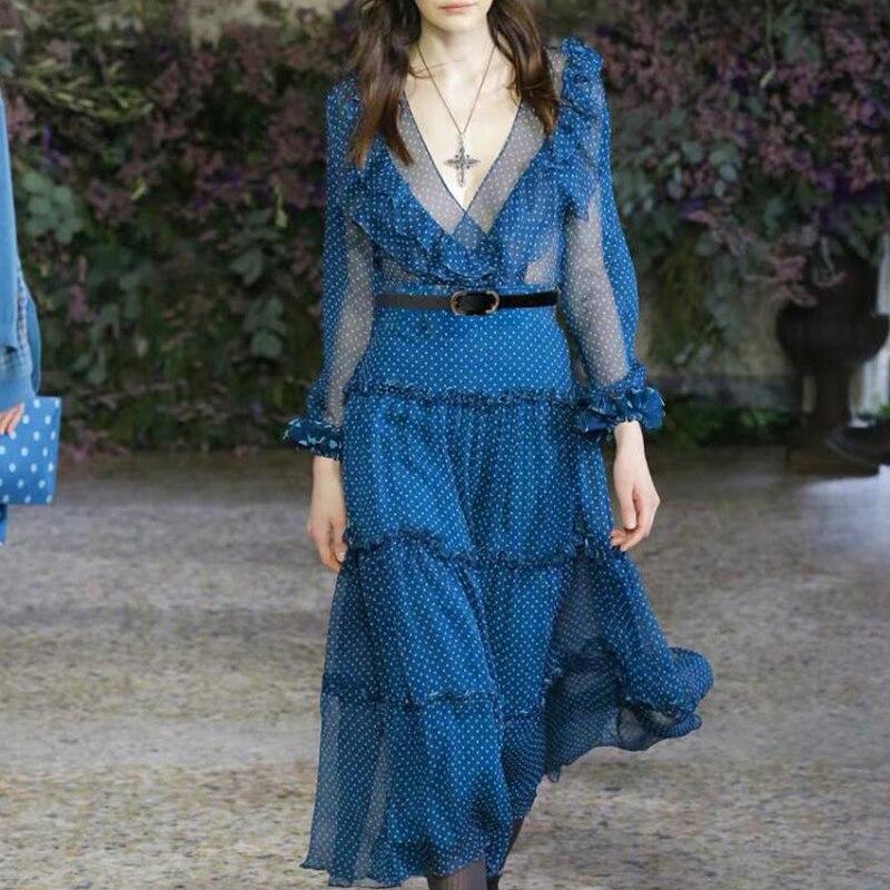 Été automne 2019 Vintage à pois femmes robe élégante à manches longues col en V volants robe Sexy Perspective piste Designer robe