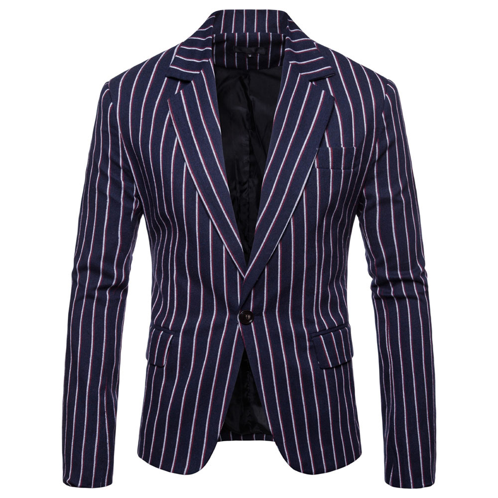 Fashion Men's Autumn Winter Long Sleeve Striped Suit Lapel Jacket Top Blouse Offices Classic Suit Formal Jacket Man L15#