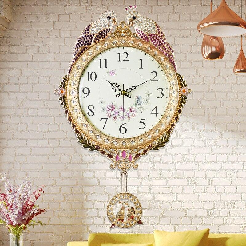 q pulgadas moda gran reloj de pared decoracin del hogar del reloj de plata de oro color del metal creativo de