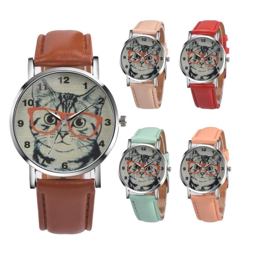 Women Watches Relogio Feminino Cat Pattern Leather Band Analog Quartz Vogue Wrist Watch Clock Drop Shipping Dec16 цена и фото