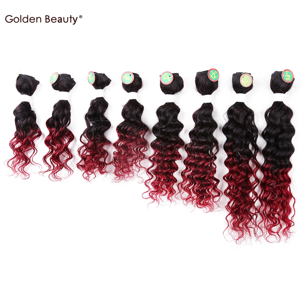 8-14inch Deep Wave Synthetic Hair Weave short Sew in hair Extensions for black women(Black,Ombre bug) 8pcs/pack Golden Beauty