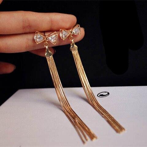 E46 bowknot Tassel Long Fashion jewlery jewllery Luxury Jewelry brincos longos Gold-color 2016 New Dangle Earring For Women
