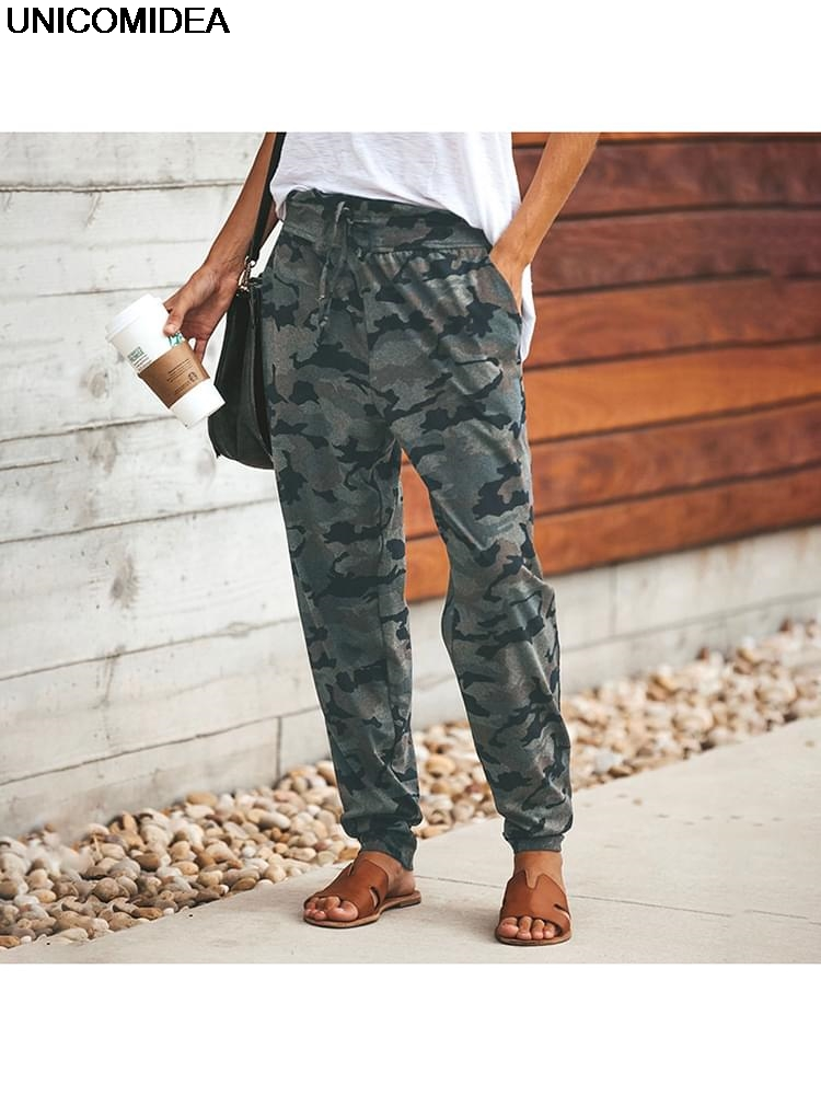 Elastic Long Trousers Baggy Casual Loose Army Green Camouflage   Pants   Streetwear Cargo   Pants   Autumn Women Bottom   Pants     Capris