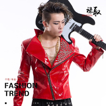 male red PU leather rivet jacket outfit prom show blazer costume Rock coat bar DJ stage outfit fashion singer dancer star